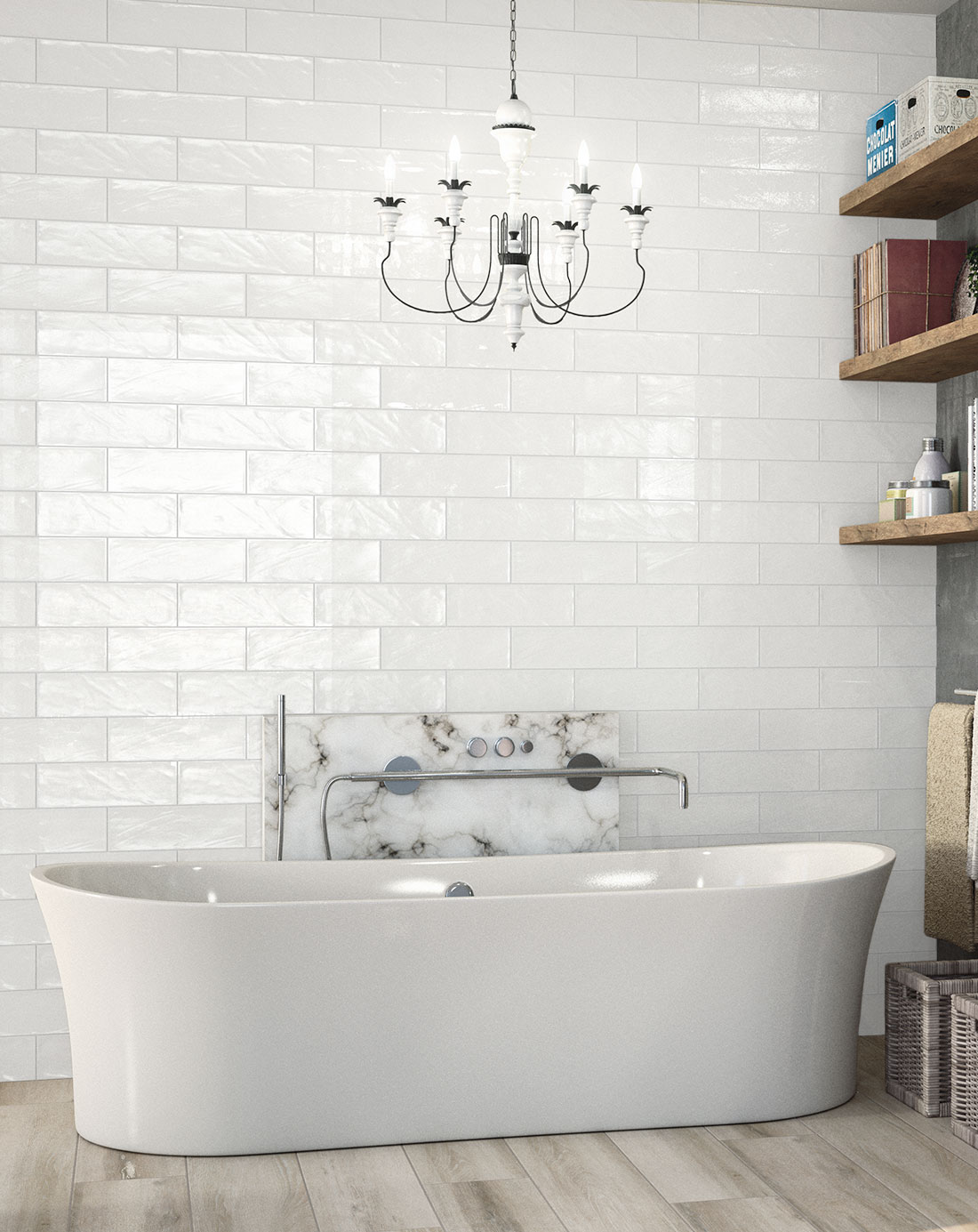 Bulevar ripple antique white wall tiles bathroom tiles direct - Deco wc zen ...
