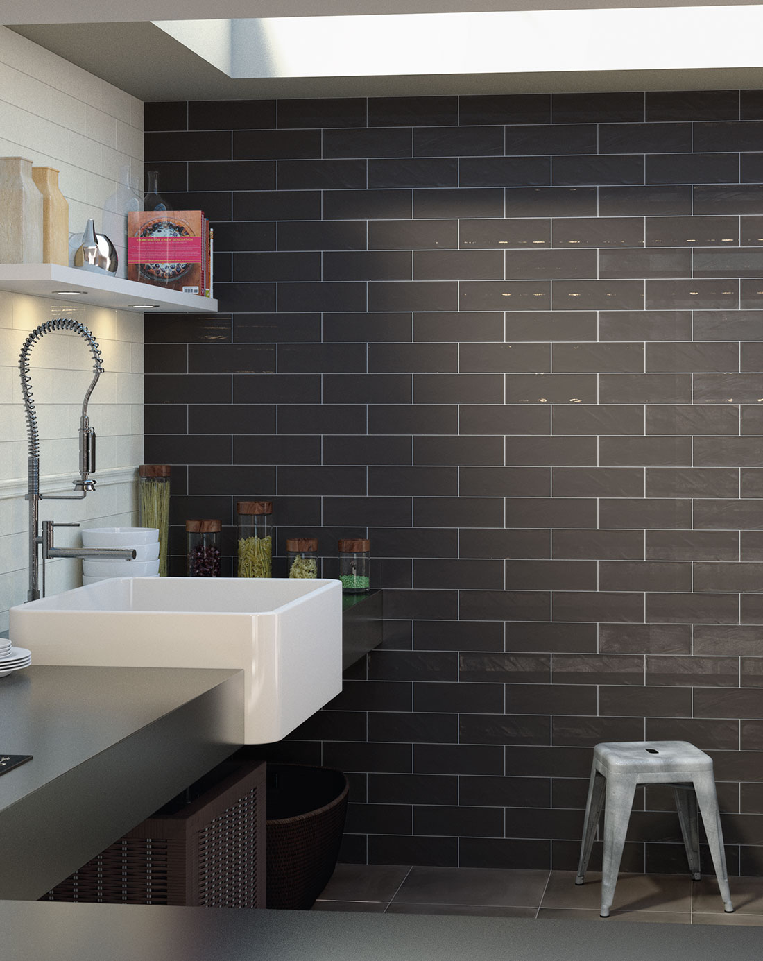 Bulevar Ripple Antique Anthracite Wall Tiles Bathroom